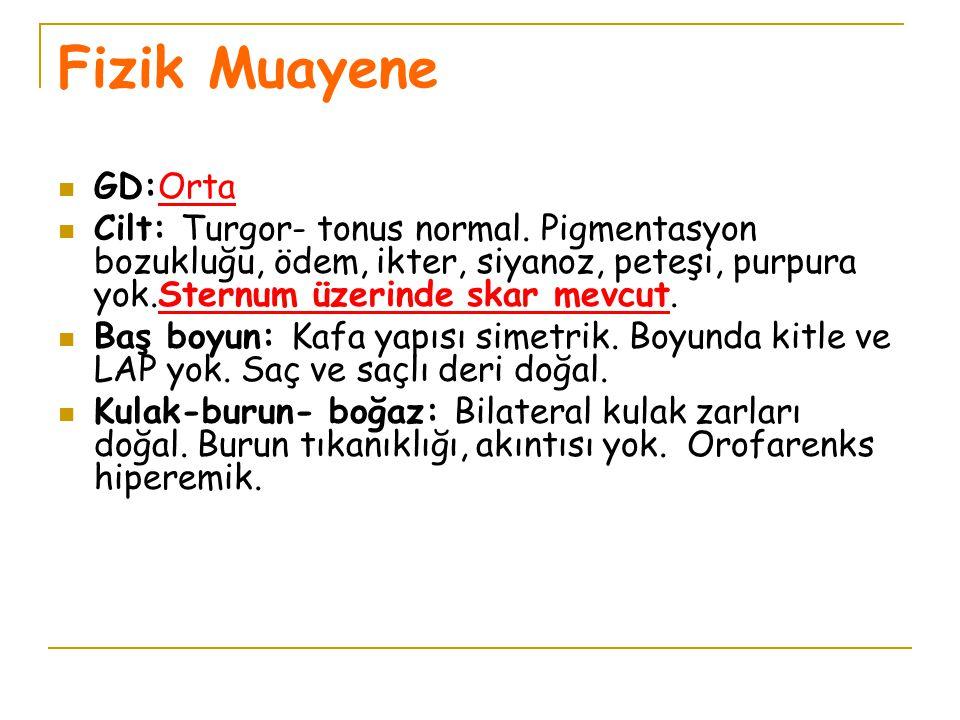 Fizik Muayene GD:Orta. Cilt: Turgor- tonus normal. Pigmentasyon bozukluğu, ödem, ikter, siyanoz, peteşi, purpura yok.Sternum üzerinde skar mevcut.