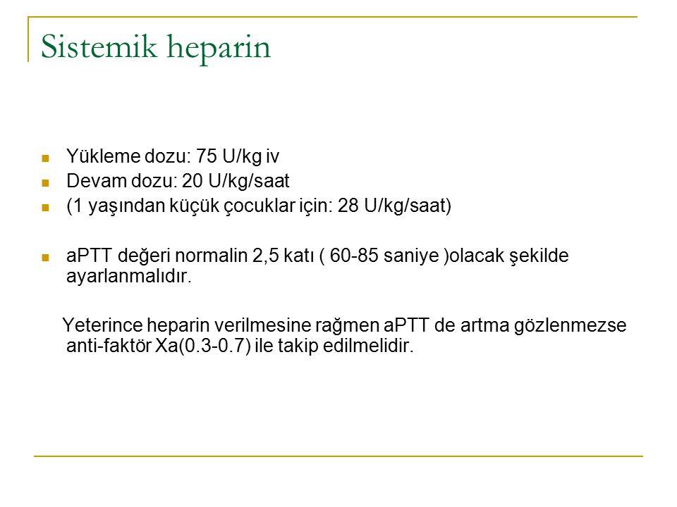 Sistemik heparin Yükleme dozu: 75 U/kg iv Devam dozu: 20 U/kg/saat