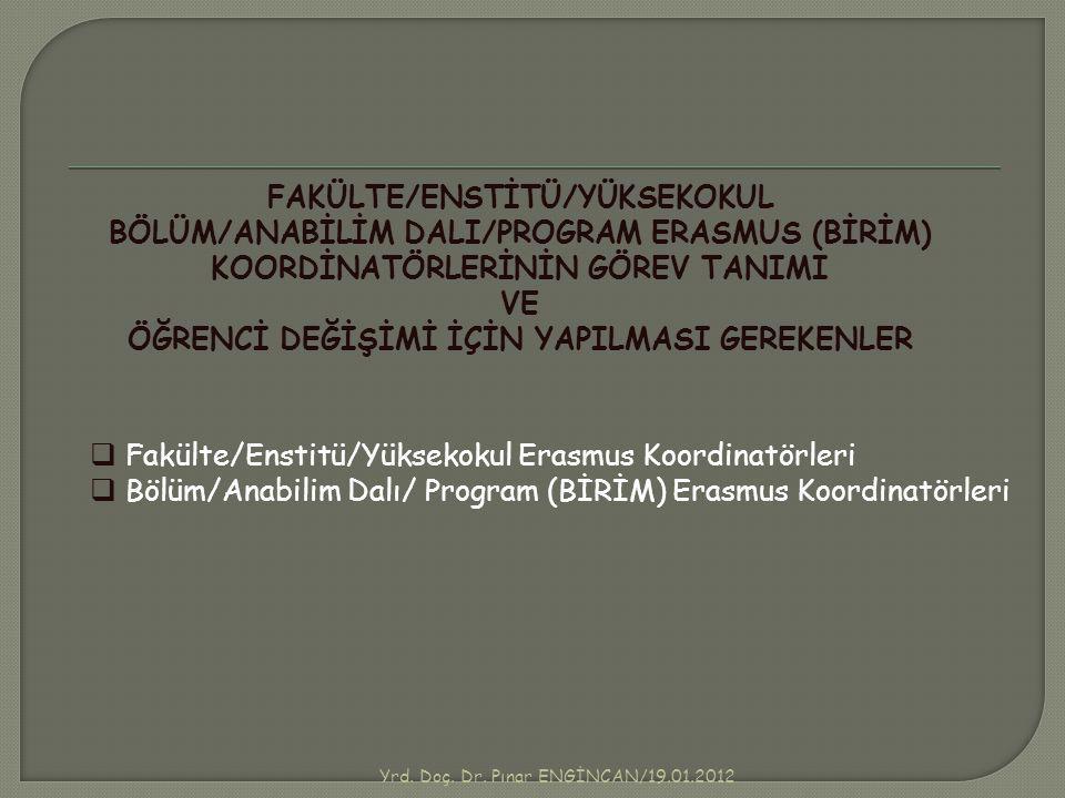 FAKÜLTE/ENSTİTÜ/YÜKSEKOKUL ÖĞRENCİ DEĞİŞİMİ İÇİN YAPILMASI GEREKENLER
