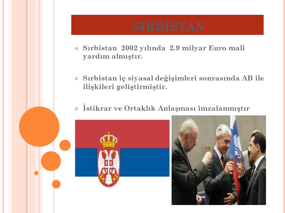 SIRBİSTAN Sırbistan 2002 yılında 2.9 milyar Euro mali yardım almıştır.