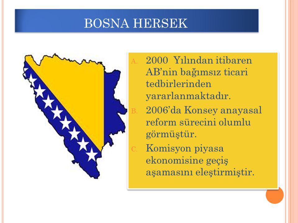 BOSNA HERSEK 2000 Yılından itibaren AB'nin bağımsız ticari tedbirlerinden yararlanmaktadır.