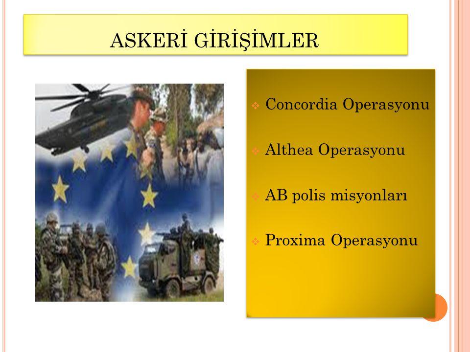 ASKERİ GİRİŞİMLER Concordia Operasyonu Althea Operasyonu