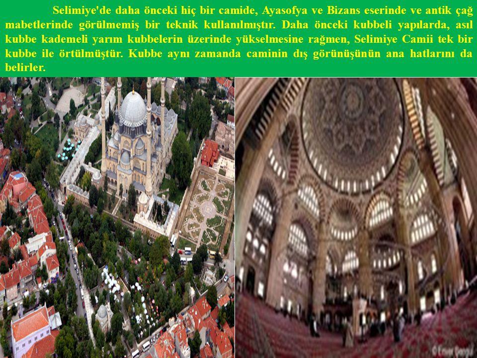 Selimiye de daha önceki hiç bir camide, Ayasofya ve Bizans eserinde ve antik çağ mabetlerinde görülmemiş bir teknik kullanılmıştır.