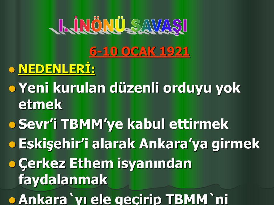 Yeni kurulan düzenli orduyu yok etmek Sevr'i TBMM'ye kabul ettirmek