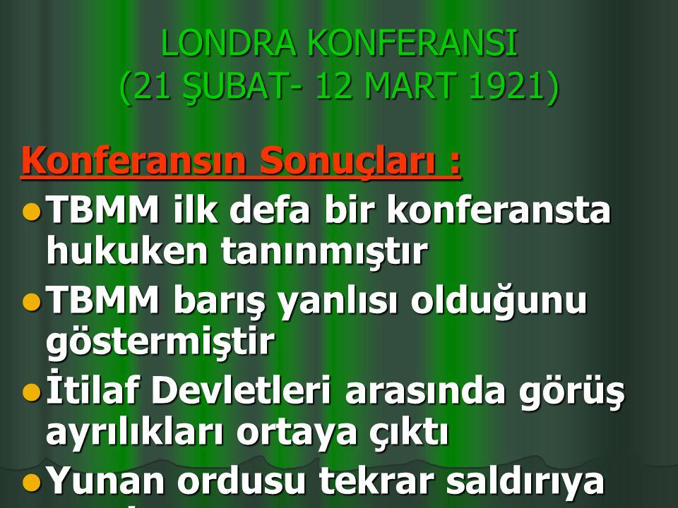 LONDRA KONFERANSI (21 ŞUBAT- 12 MART 1921)