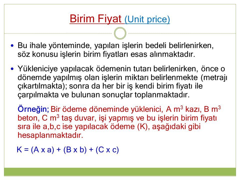 Birim Fiyat (Unit price)