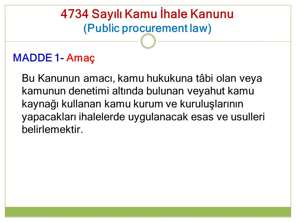 4734 Sayılı Kamu İhale Kanunu (Public procurement law)