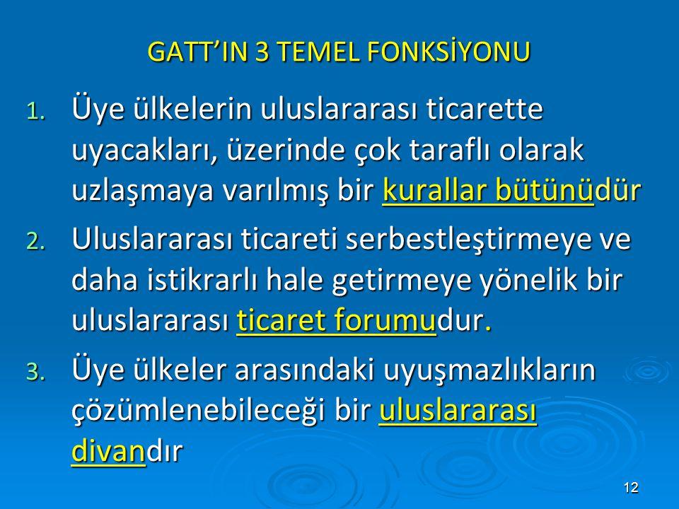 GATT'IN 3 TEMEL FONKSİYONU