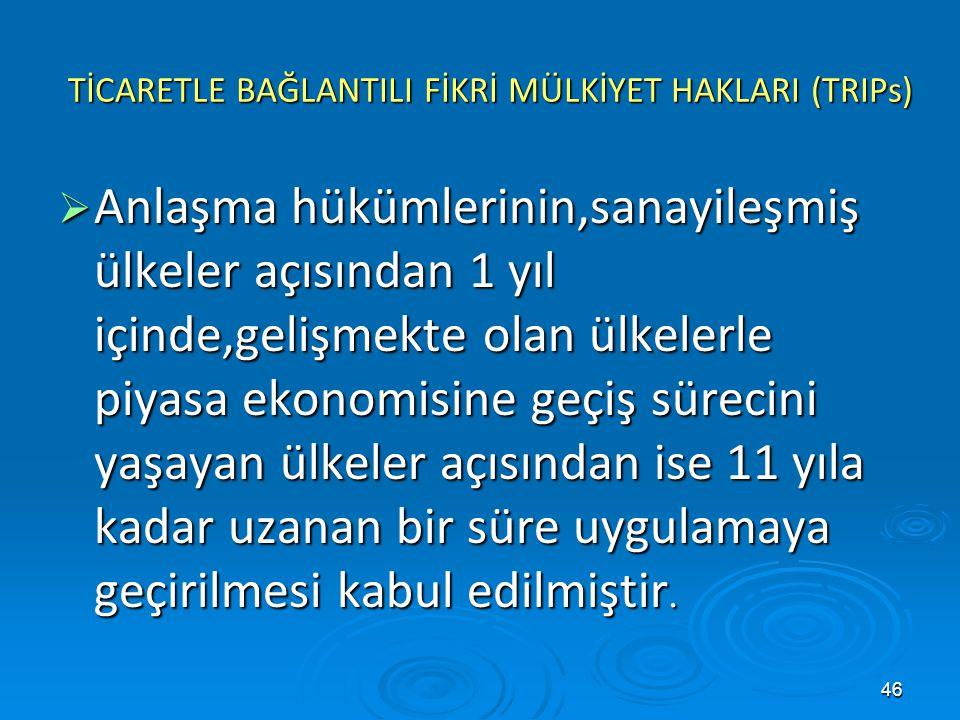 TİCARETLE BAĞLANTILI FİKRİ MÜLKİYET HAKLARI (TRIPs)