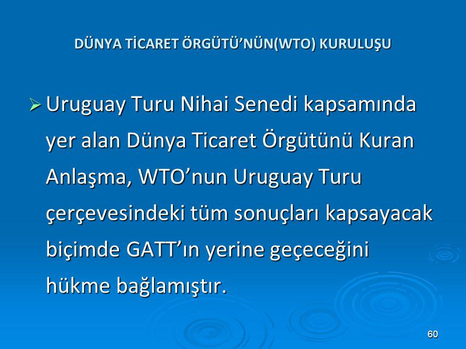 DÜNYA TİCARET ÖRGÜTÜ'NÜN(WTO) KURULUŞU