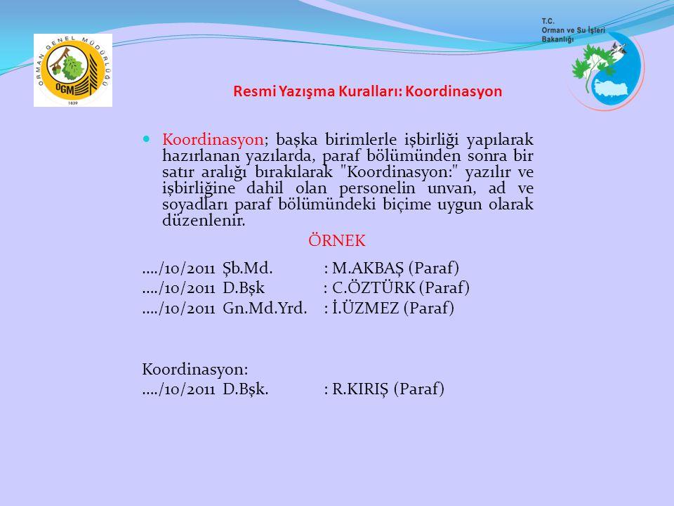 Resmi Yazışma Kuralları: Koordinasyon