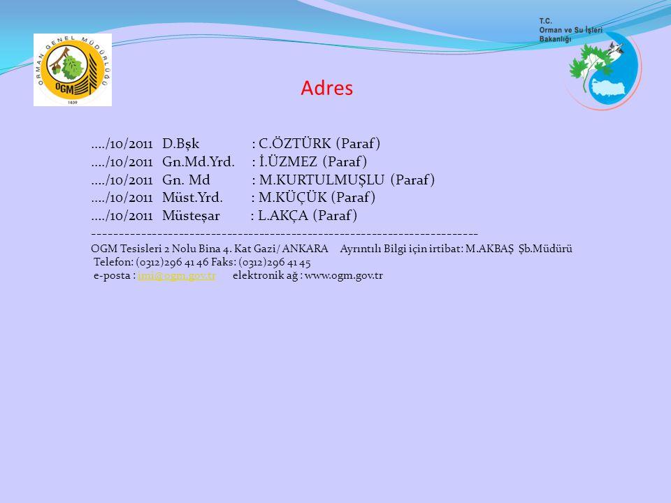 Adres …./10/2011 D.Bşk : C.ÖZTÜRK (Paraf)