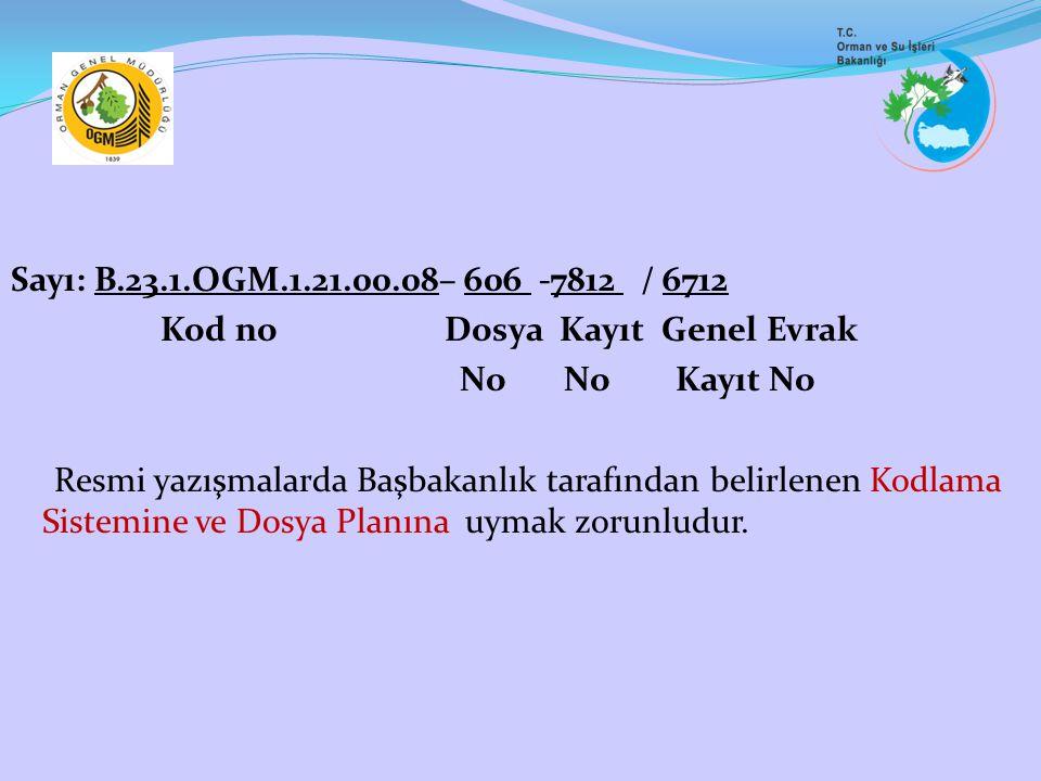 Sayı: B.23.1.OGM.1.21.00.08– 606 -7812 / 6712 Kod no Dosya Kayıt Genel Evrak No No Kayıt No Resmi yazışmalarda Başbakanlık tarafından belirlenen Kodlama Sistemine ve Dosya Planına uymak zorunludur.