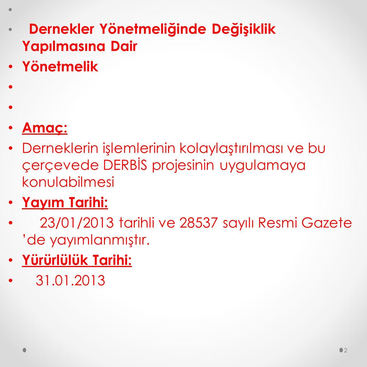23/01/2013 tarihli ve 28537 sayılı Resmi Gazete 'de yayımlanmıştır.