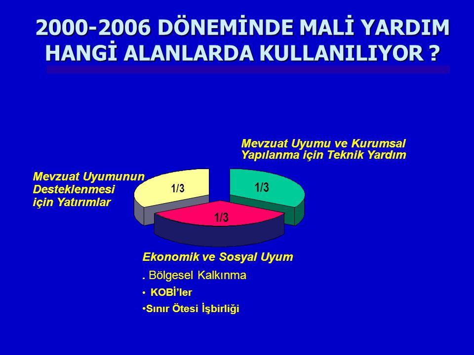 2000-2006 DÖNEMİNDE MALİ YARDIM HANGİ ALANLARDA KULLANILIYOR
