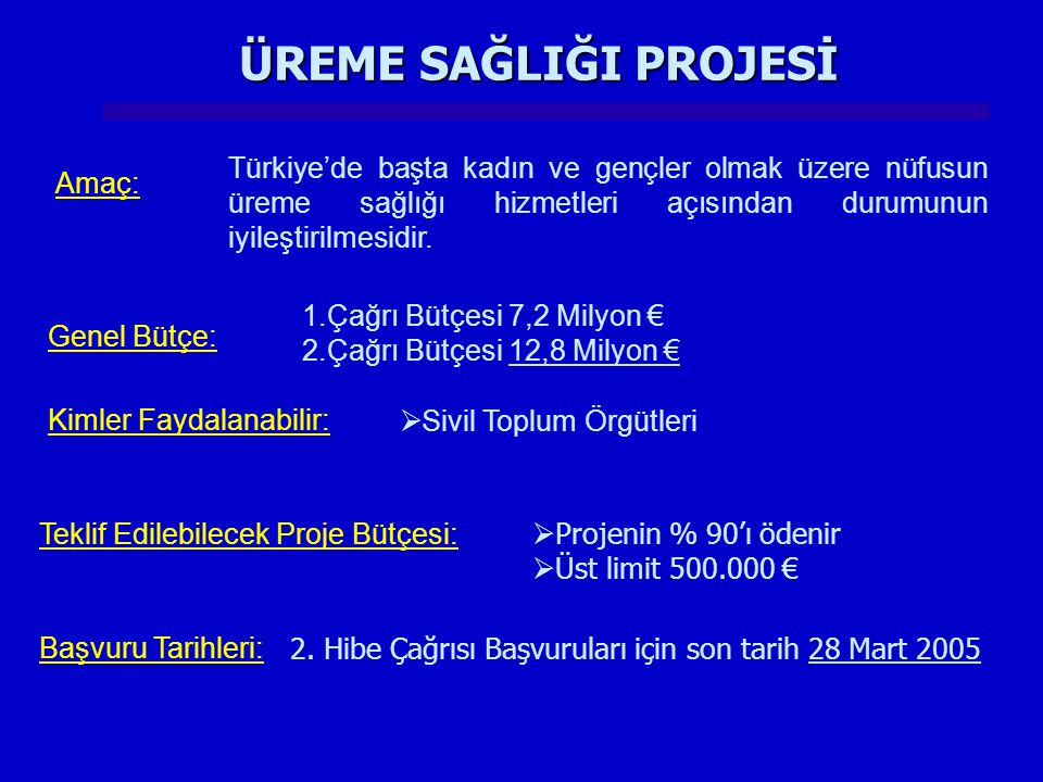 ÜREME SAĞLIĞI PROJESİ Türkiye'de başta kadın ve gençler olmak üzere nüfusun üreme sağlığı hizmetleri açısından durumunun iyileştirilmesidir.