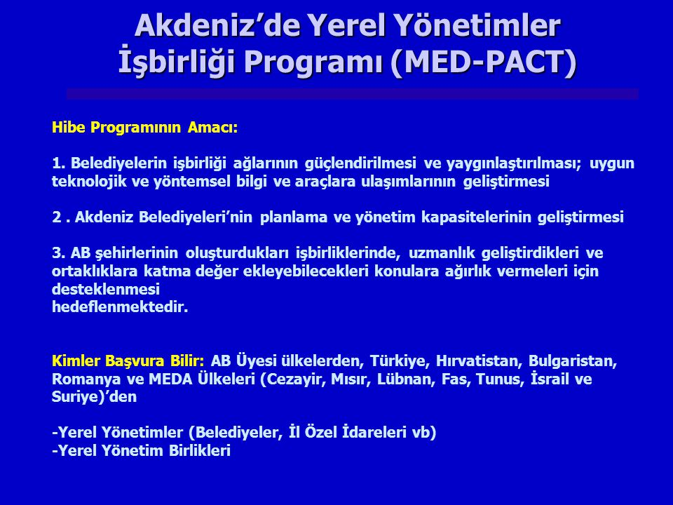 Akdeniz'de Yerel Yönetimler İşbirliği Programı (MED-PACT)