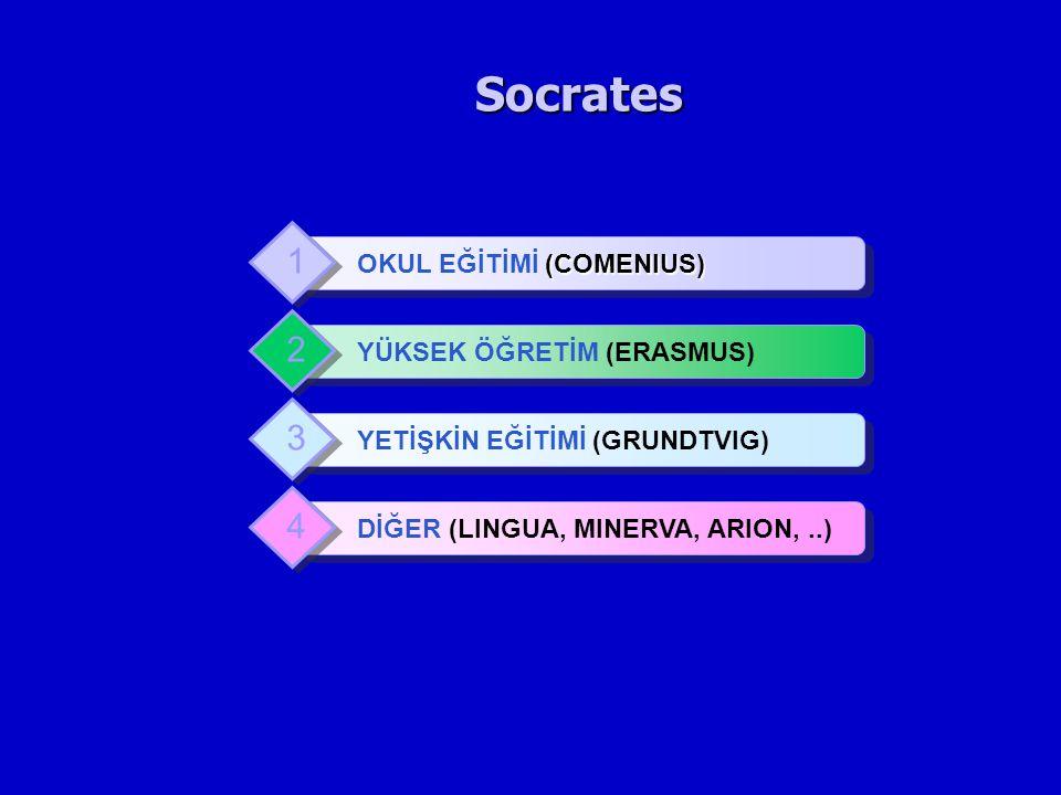 Socrates 1 2 3 4 OKUL EĞİTİMİ (COMENIUS) YÜKSEK ÖĞRETİM (ERASMUS)