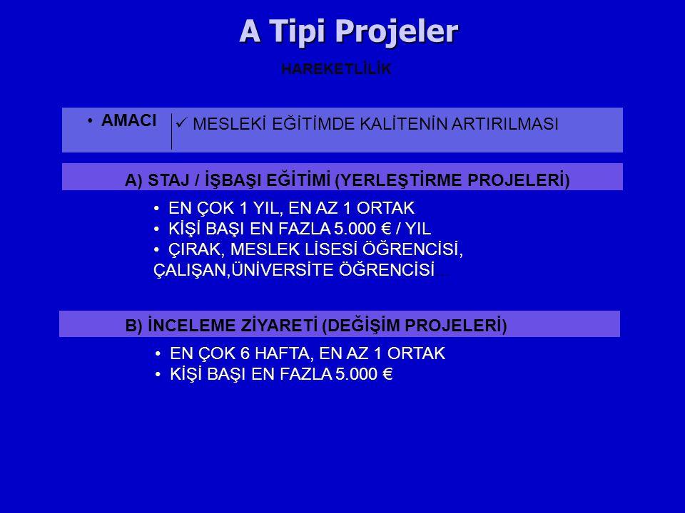 A Tipi Projeler AMACI MESLEKİ EĞİTİMDE KALİTENİN ARTIRILMASI