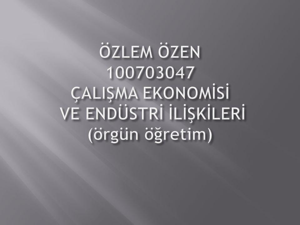 ÖZLEM ÖZEN 100703047 ÇALIŞMA EKONOMİSİ VE ENDÜSTRİ İLİŞKİLERİ (örgün öğretim)