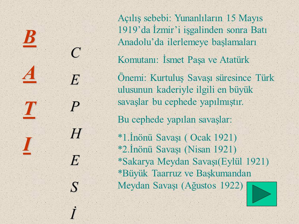 Açılış sebebi: Yunanlıların 15 Mayıs 1919'da İzmir'i işgalinden sonra Batı Anadolu'da ilerlemeye başlamaları