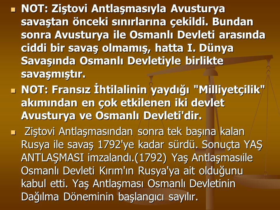 NOT: Ziştovi Antlaşmasıyla Avusturya savaştan önceki sınırlarına çekildi. Bundan sonra Avusturya ile Osmanlı Devleti arasında ciddi bir savaş olmamış, hatta I. Dünya Savaşında Osmanlı Devletiyle birlikte savaşmıştır.