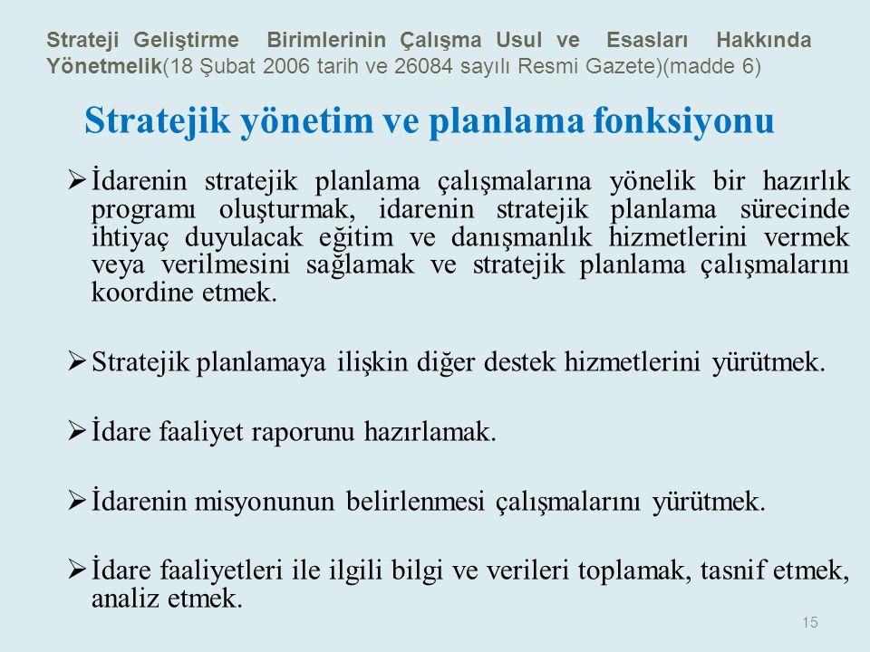 Stratejik planlamaya ilişkin diğer destek hizmetlerini yürütmek.