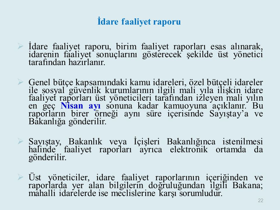 İdare faaliyet raporu