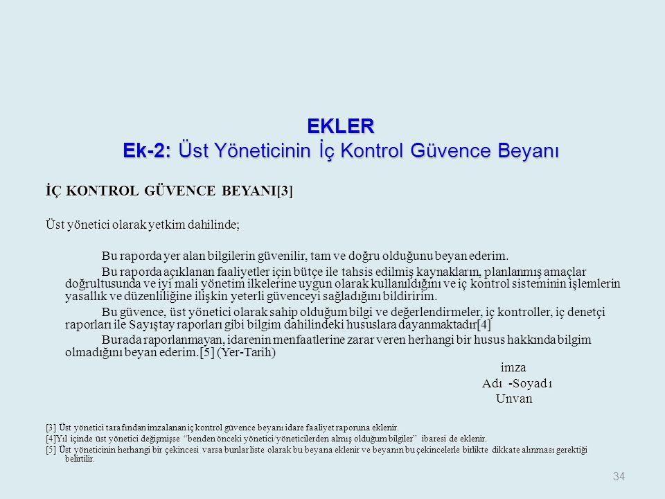 EKLER Ek-2: Üst Yöneticinin İç Kontrol Güvence Beyanı
