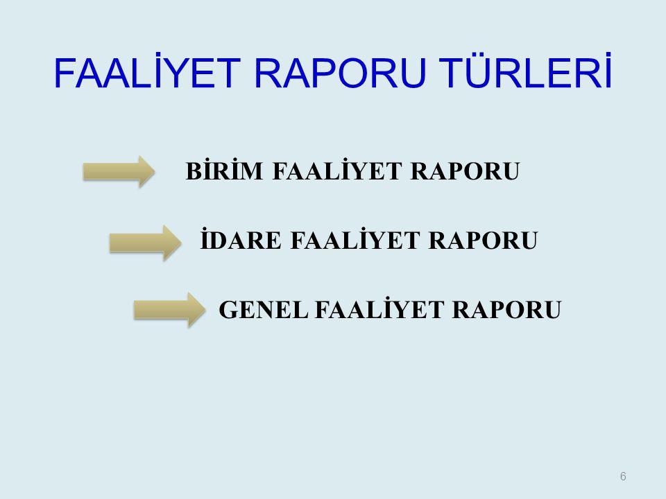 FAALİYET RAPORU TÜRLERİ