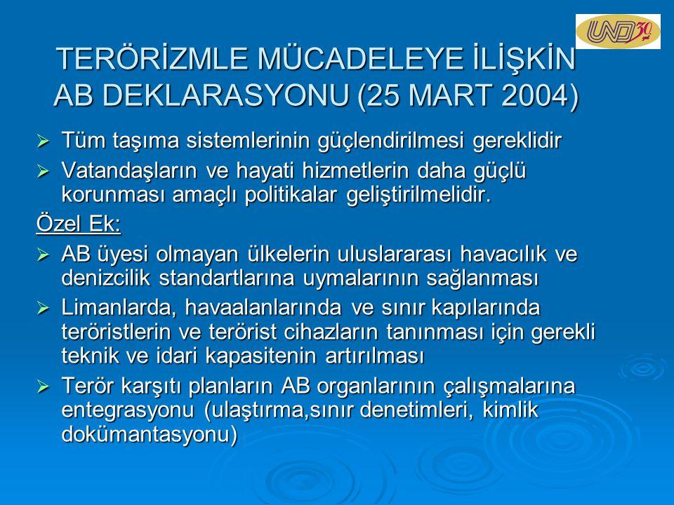 TERÖRİZMLE MÜCADELEYE İLİŞKİN AB DEKLARASYONU (25 MART 2004)