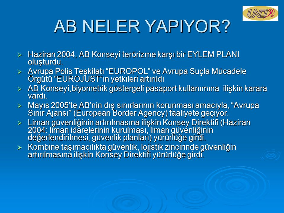AB NELER YAPIYOR Haziran 2004, AB Konseyi terörizme karşı bir EYLEM PLANI oluşturdu.