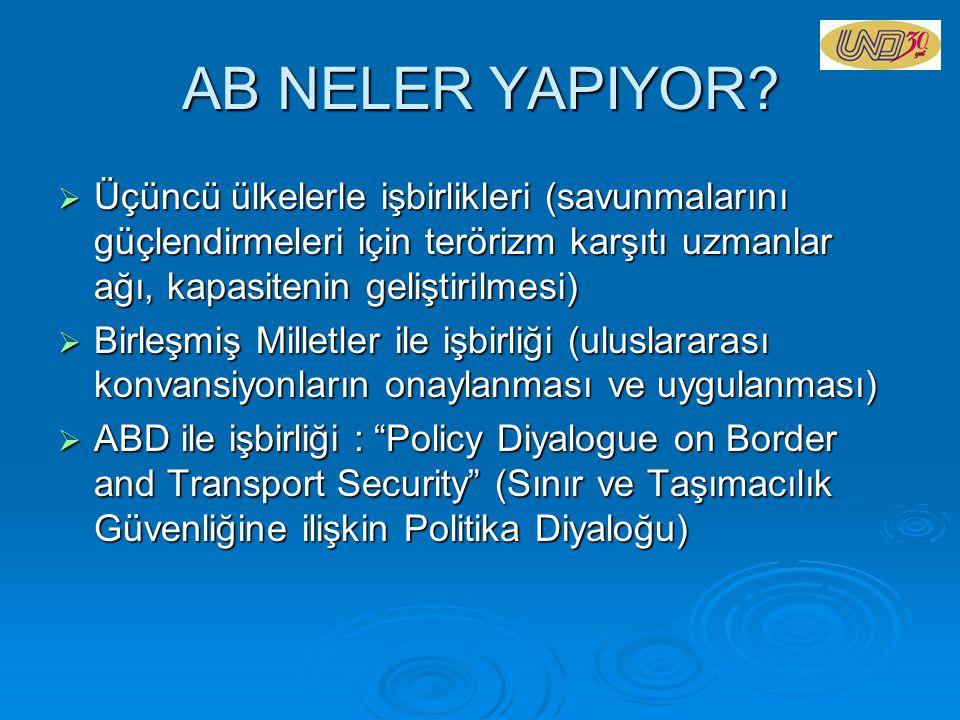 AB NELER YAPIYOR Üçüncü ülkelerle işbirlikleri (savunmalarını güçlendirmeleri için terörizm karşıtı uzmanlar ağı, kapasitenin geliştirilmesi)