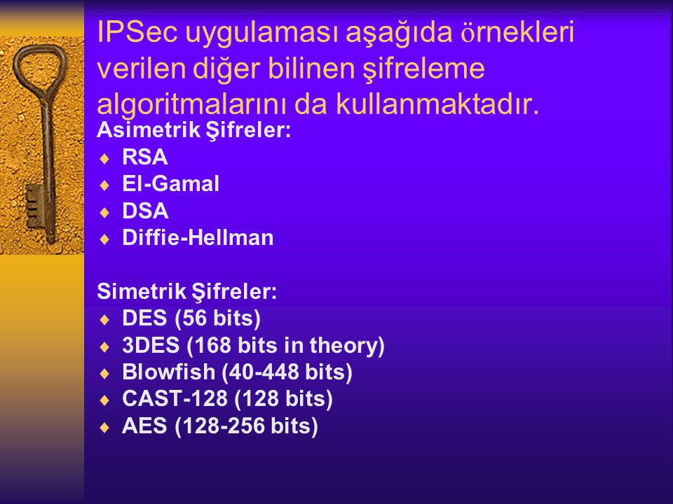 IPSec uygulaması aşağıda örnekleri verilen diğer bilinen şifreleme algoritmalarını da kullanmaktadır.