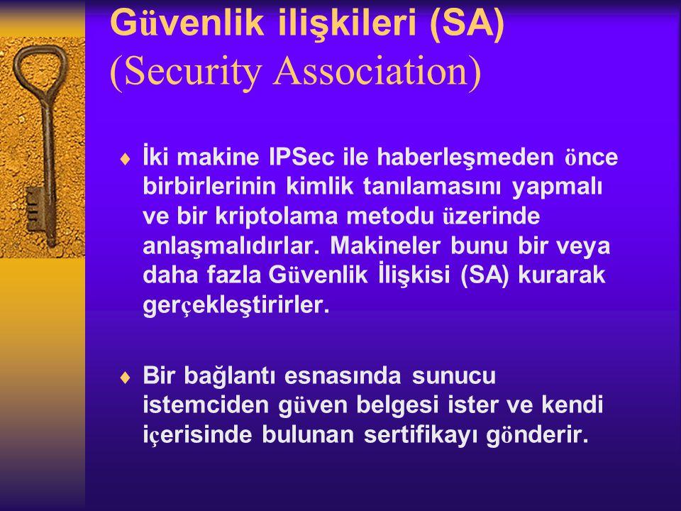 Güvenlik ilişkileri (SA) (Security Association)