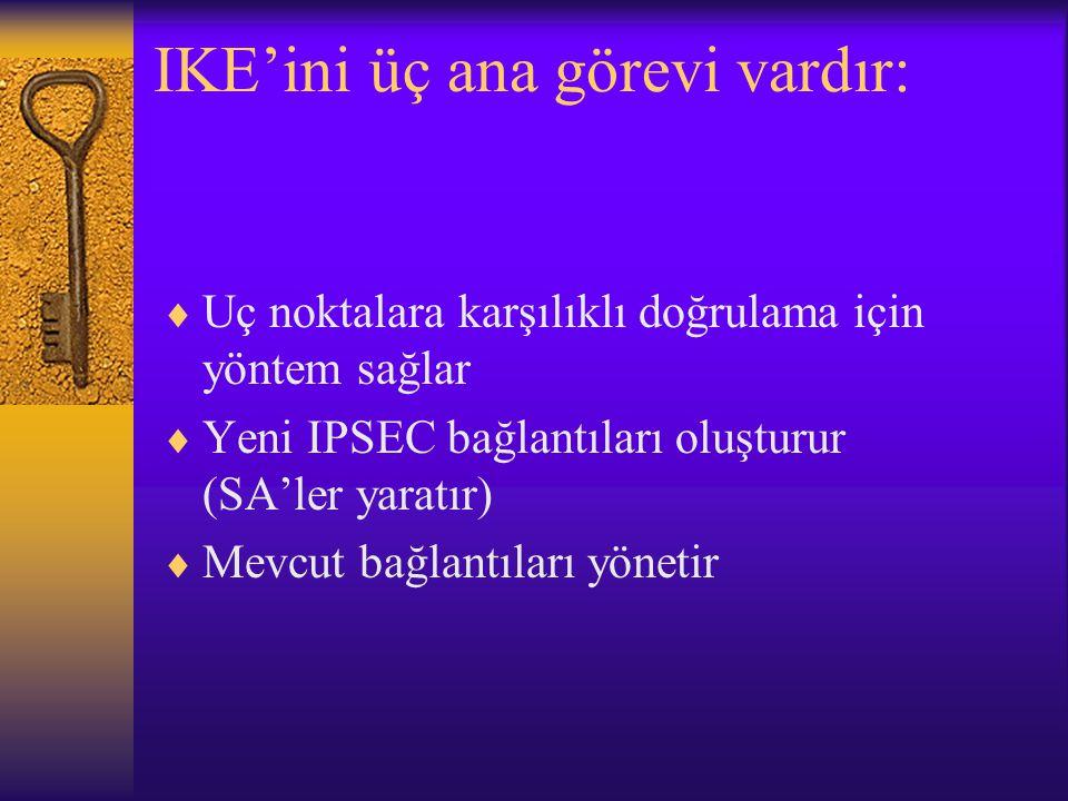 IKE'ini üç ana görevi vardır:
