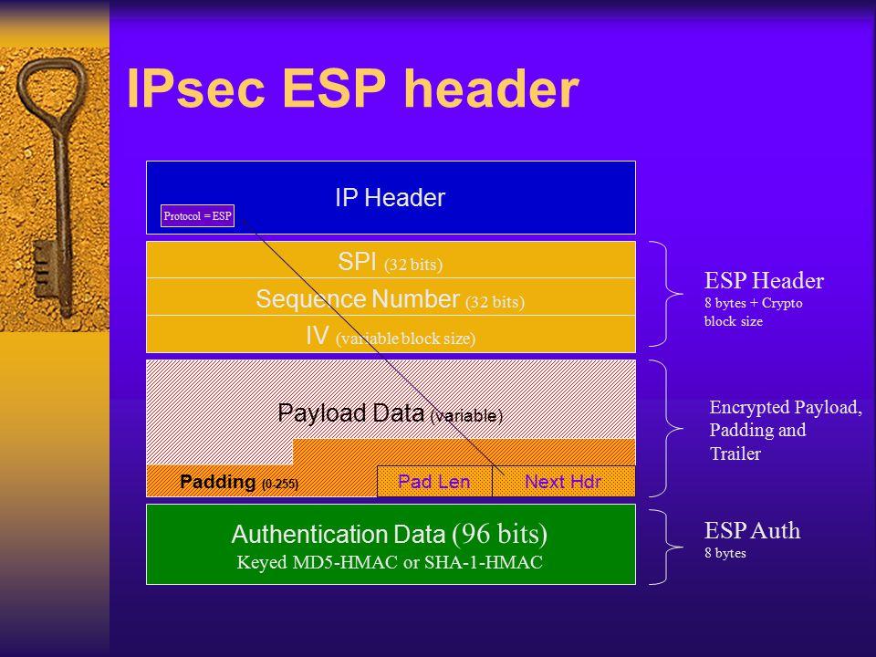 IPsec ESP header IP Header SPI (32 bits) ESP Header