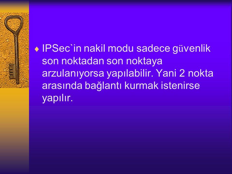 IPSec`in nakil modu sadece güvenlik son noktadan son noktaya arzulanıyorsa yapılabilir.