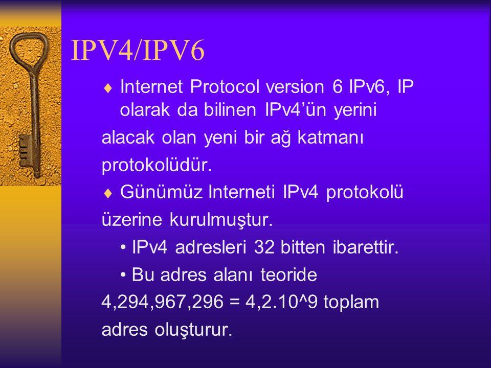 IPV4/IPV6 Internet Protocol version 6 IPv6, IP olarak da bilinen IPv4'ün yerini. alacak olan yeni bir ağ katmanı.