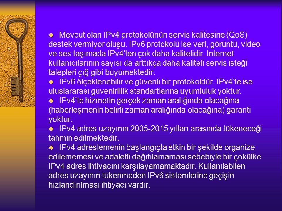 Mevcut olan IPv4 protokolünün servis kalitesine (QoS)