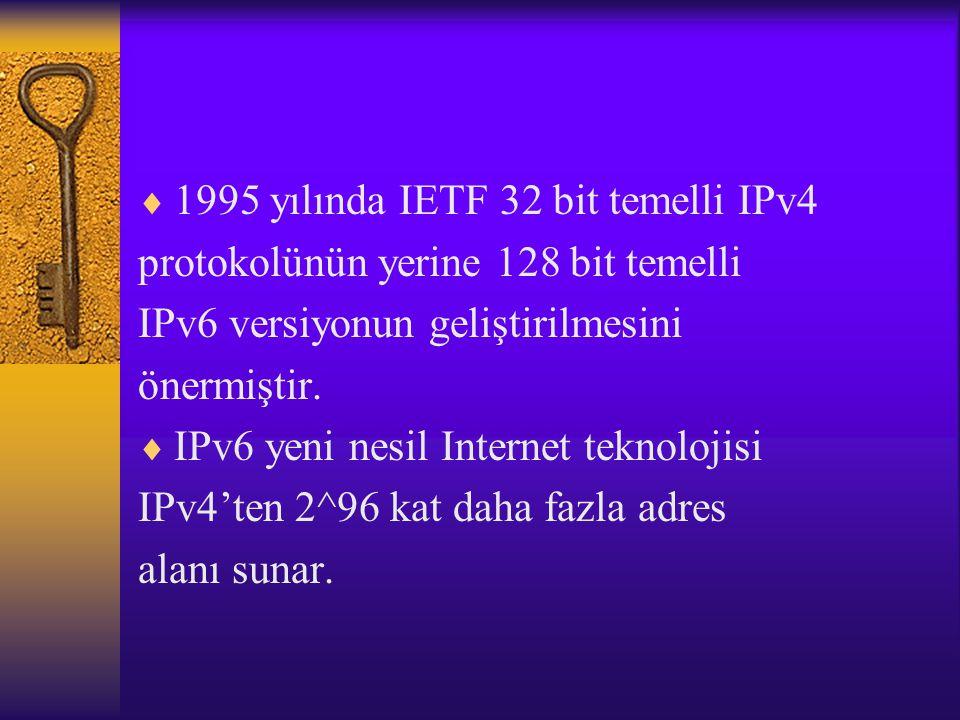1995 yılında IETF 32 bit temelli IPv4