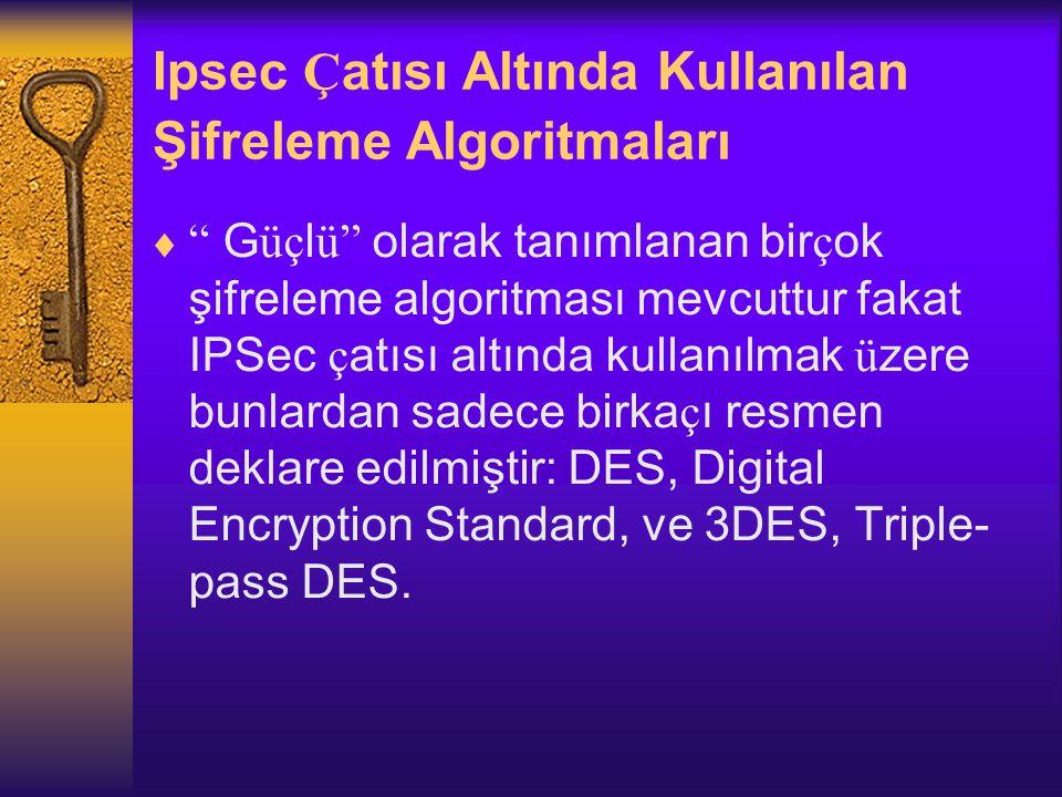 Ipsec Çatısı Altında Kullanılan Şifreleme Algoritmaları