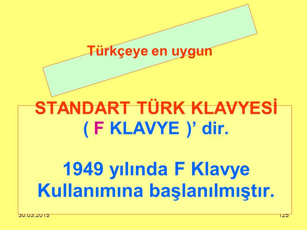Türkçeye en uygun STANDART TÜRK KLAVYESİ ( F KLAVYE )' dir. 1949 yılında F Klavye Kullanımına başlanılmıştır.