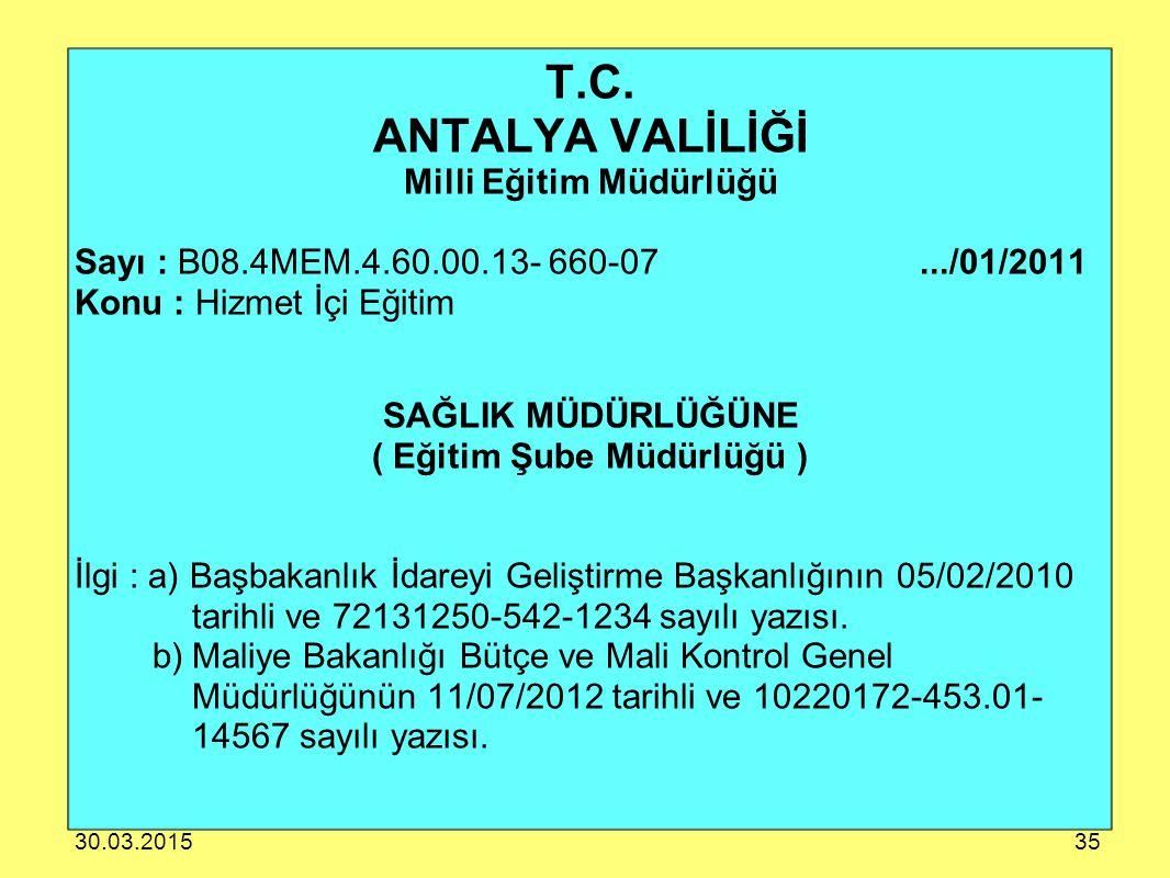 T.C. ANTALYA VALİLİĞİ Milli Eğitim Müdürlüğü