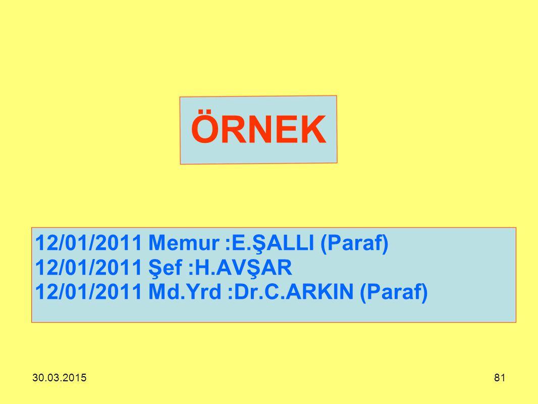 ÖRNEK 12/01/2011 Memur :E.ŞALLI (Paraf) 12/01/2011 Şef :H.AVŞAR