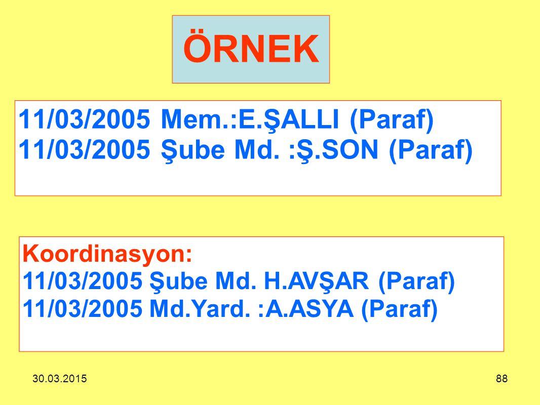 11/03/2005 Mem.:E.ŞALLI (Paraf) 11/03/2005 Şube Md. :Ş.SON (Paraf)