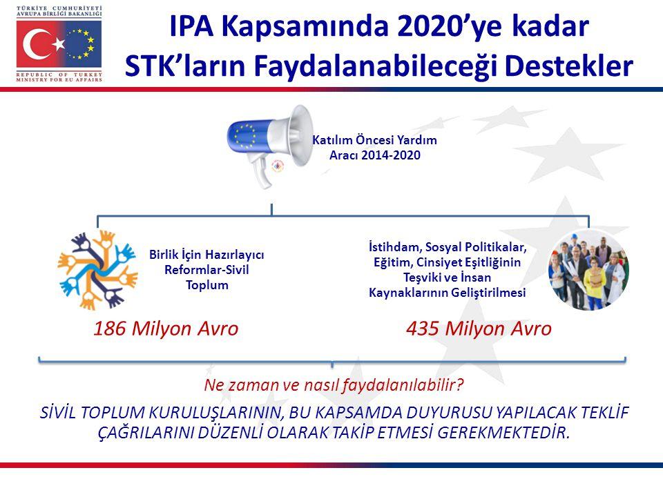 IPA Kapsamında 2020'ye kadar STK'ların Faydalanabileceği Destekler