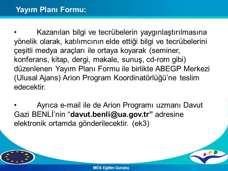 Yayım Planı Formu: