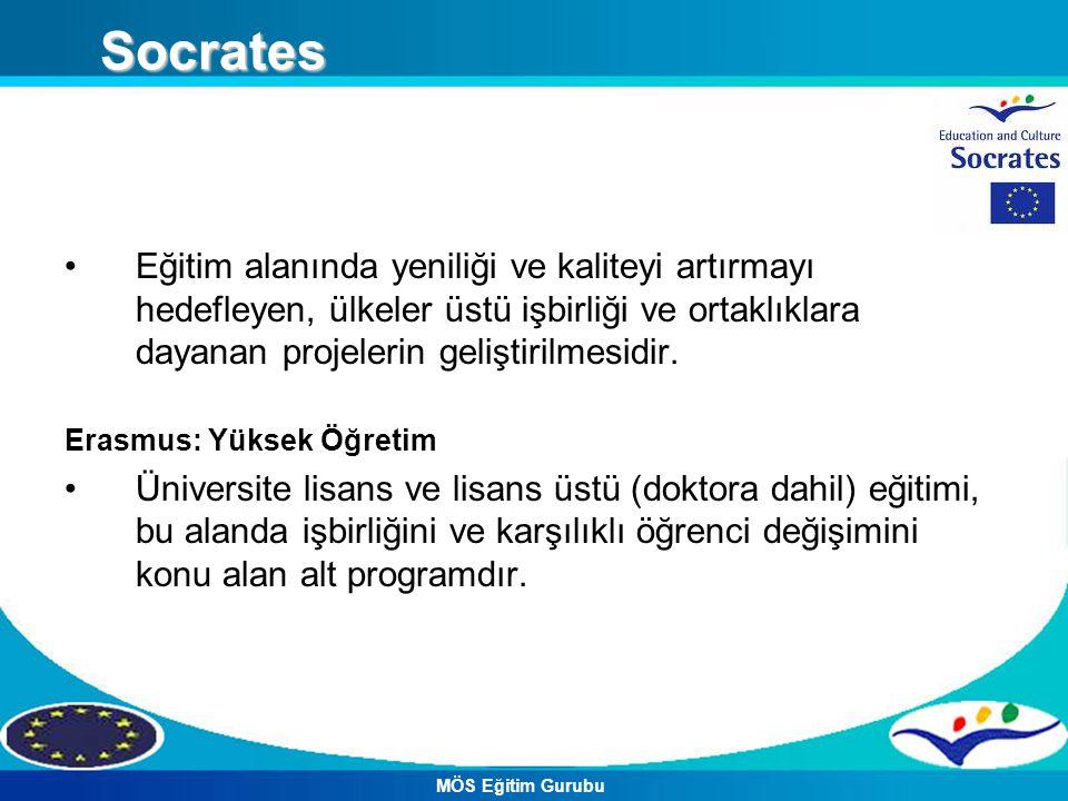Socrates Eğitim alanında yeniliği ve kaliteyi artırmayı hedefleyen, ülkeler üstü işbirliği ve ortaklıklara dayanan projelerin geliştirilmesidir.