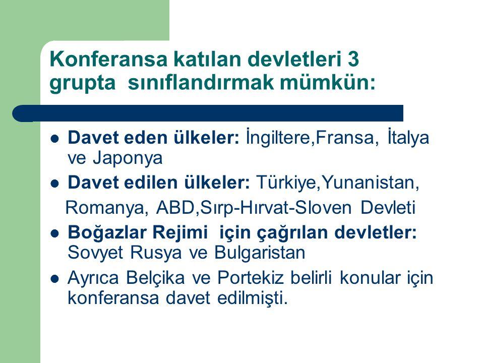Konferansa katılan devletleri 3 grupta sınıflandırmak mümkün: